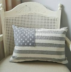 This lovely rustic American flag pillow is made of hand-dyed cotton. The fabric…