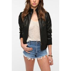 BDG Faux Leather Ribbed Collar Bomber Jacket ($59) ❤ liked on Polyvore