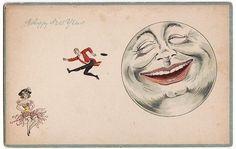 Vintage Man in Moon postcard.