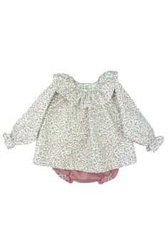 Paloma de la O floral print blouse with knit bloomer #fashionkids #babyfashion