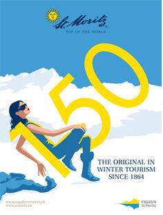 3 Christoph Niemann, St Moritz, Alpine Skiing, Flyer, Vintage Posters, Retro, Travel Posters, Switzerland, Graphic Art