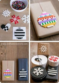 Pärlat pynt till klapparna - Pysseltips - Make & Create - christmas ornaments with hama beads Holiday Crafts, Fun Crafts, Crafts For Kids, Noel Christmas, Christmas Ornaments, Christmas Ideas, Christmas Perler Beads, Fuse Beads, Christmas Gift Wrapping