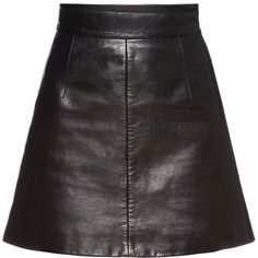 Miu Miu SKIRT (25.880.960 VND) ❤ liked on Polyvore featuring skirts, mini skirts, miu miu, real leather mini skirt, leather miniskirt and leather skirts
