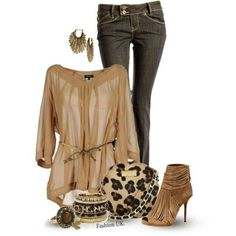 I love this look and I do like leopard print but I think people go to far with it ..This is just the right balance. .