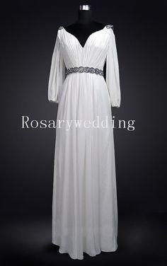 Crystals decoration chiffon v neck wedding dress