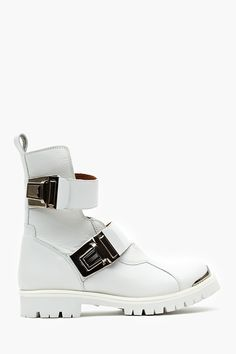 When Buckled Moto Boot - White