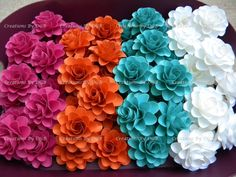 Fuchsia, Turquoise, Tangerine Orange, & Off-white Flowers - For Wedding Decors -Favor Boxes Flowers- Cake Toppers - 50 pcs - Made to Order