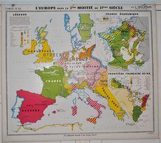 Carte N°222-223 L'Europe dans la 2ème moitié du 17ème Siècle et L'Europe au 18ème siècle - Jélidée