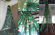 paper chain Christmas tree I made for a school and church.  Spray paint a 15ft. PVC pipe green, attach paper chains and a star!  Easy and economical to fill a big space!  Total expense was 10 dollars!
