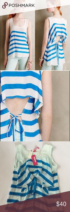 Tracy Reese Marina Stripe Tank His is a beautiful blue striped tank by Tracy Reese purchased at Anthropologie. It features an open back with a flap and romantic k whimsical ties! A really fun silhouette. Anthropologie Tops