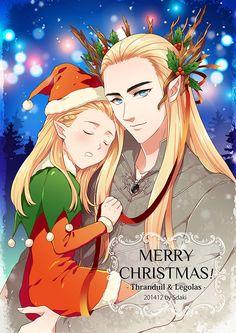 [Thranduil and Legolas] Merry Christmas! Legolas And Thranduil, Fili And Kili, Orlando Bloom Legolas, Elven Queen, Mirkwood Elves, Elf King, Wood Elf, Fire Dragon, Elvish