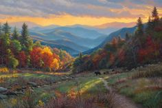 Evening Light by Mark Keathley ~ autumn countryside mountains black bears