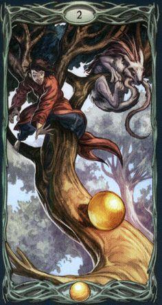 Two of pentacles All Tarot Cards, Tarot Readers, Pentacle, Oracle Cards, Tarot Decks, Color Card, Beautiful Artwork, Fantasy, Painting