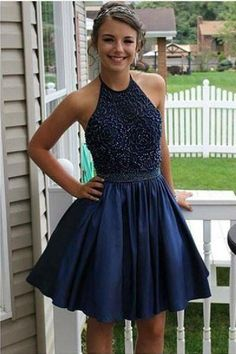 Navy Blue Homecoming Dresses, Custom Prom Dresses, Prom Dresses Blue, Prom Dresses For Teens, Cute Homecoming Dresses #Cute #Homecoming #Dresses #Custom #Prom #For #Teens #Navy #Blue Homecoming Dresses 2018