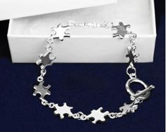 Silver Linked Puzzle Piece Bracelet (RETAIL)