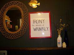#SamsungSpinCycle black laundry room wood shelf, goldfish (haha) wood mirror