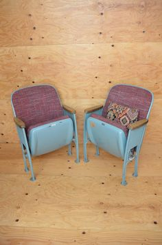 Vintage 50's Movie Theater Chairs Stunning Set of 2 Blue & Purple Industrial Grade Folding Seats