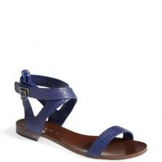50% off BCBG Max Azria - Croc Embossed Flat Sandal Depths Brannon Blue - $74.50