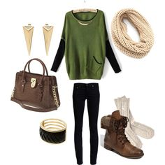 """Black, Brown & Green"" by taylorratliff on Polyvore"
