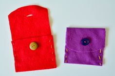 Child made hand sewn pouch with buttons at How we Montessori