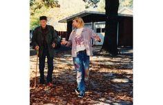William S. Burroughs and Kurt Cobain : William S. Burroughs and Kurt Cobain in a garden at autumn season Michael Pitt, Donald Sutherland, Gary Oldman, Patti Smith, Dave Grohl, Richard Gere, Frank Zappa, Rare Images, Rare Photos