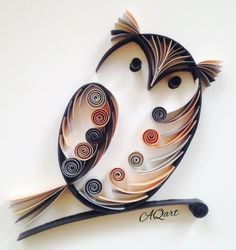 quilling owl, very cute Arte Quilling, Paper Quilling Patterns, Quilled Paper Art, Quilling Paper Craft, Quilling Ideas, Quiling Paper, Quilling Work, Paper Quilling For Beginners, Quilling Techniques