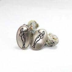 Silver Bridal Earrings, Silver Post Earrings, Silver Oval Earrings, Romantic Earrings, Cameo Earrings, Silver Oval Studs, Silhouette Studs