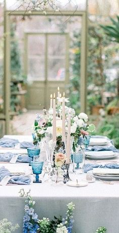 Park Weddings, Romantic Weddings, Summer Wedding, Wedding Day, Wedding Decorations, Table Decorations, Blue Party, Outdoor Wedding Venues, Forest Wedding