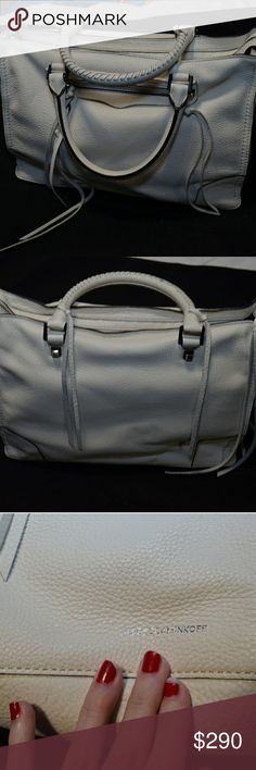 """NWOT Rebecca Minkoff Regan Satchel Antique White brand new without tags, still stuffed with paper and the dust bag!  Shoulder strap also inside.  Measurements are 13.25"""" wide, 5"""" deep, 9.5"""" high, 5"""" handle drop, 25"""" strap drop Rebecca Minkoff Bags Satchels"""