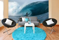 Catch the wave with a mural for the beach house http://sportsdecorating.com.  Full wall size 8 ft 3 in x 13 ft 8 in  8 panels, paste included.  Great price $99.95