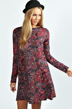 Sohie Paisley Print Long Sleeve Swing Dress at boohoo.com