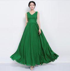 SALE Bohemian Boho Chic Green Chiffon A-line Dress Wedding Bridesmaid Dress Full Pleated Skirt Beach Tunic Prom Party Holiday Size S M L XL on Etsy, $128.00