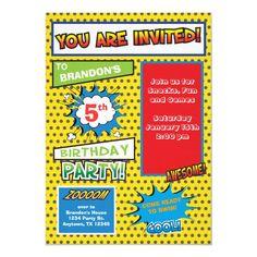Superhero Comic Book Birthday Invitation Superhero Birthday Invitations, Superhero Birthday Party, Birthday Invitation Templates, Birthday Ideas, Make Your Own Superhero, Comic Book Superheroes, Heroes Comic, Kids Party Supplies, Fun Comics