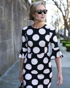 Polka Dot Bell-Sleeve Dress