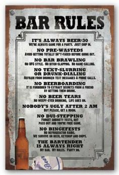 Amazon.com: (22x34) Bar Rules Drinking List Poster Print: Home & Kitchen