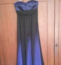 vestido longo degradê preto e azul