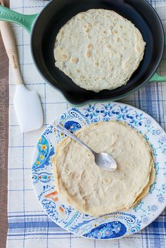 Grain-Free Paleo Crepes - Ingredients (yields 10 crepes)    6 large eggs  1 cup unsweetened almond milk  3 tablespoons coconut flour, sifted  2 teaspoons coconut oil, melted  1 teaspoon arrowroot powder  ¼ teaspoon sea salt  Coconut oil or butter for pan
