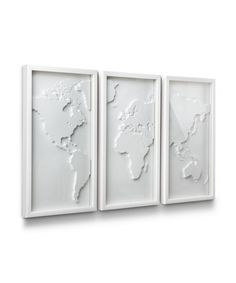 Display your love for travel and culture with this three-panel relief-molded world map.