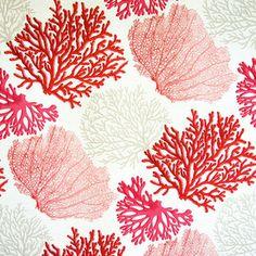 Red Coral Fabric Pink Salmon Orange Ocean