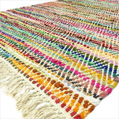 4-X-6-ft-WHITE-CHINDI-DECORATIVE-WOVEN-RAG-RUG-Bohemian-Boho-Indian-Decor