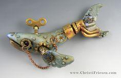 """""""steampunk whale""""  #christiFriesen #polymer #steampunk http://www.christifriesenart.com/"""