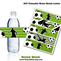 Soccer Water Bottle Labels, Printable Water Bottle Labels, Soccer Party Decor, Birthday, Baby Shower Soccer Birthday Parties, Football Birthday, Soccer Party, Soccer Theme, Boy Birthday, Soccer Banquet, Messi Y Ronaldinho, Printable Water Bottle Labels, Mickey Party