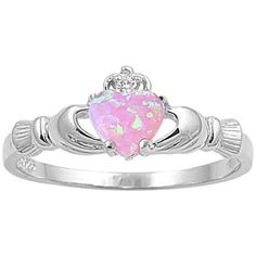 Heart Shaped Sterling Solid Silver Irish Birthstone Ring (130 DKK) ❤ liked on Polyvore featuring jewelry, rings, jewelry & watches, pink lab opal, silver birthstone rings, unisex jewelry, pink silver ring, silver heart jewelry and heart shaped rings
