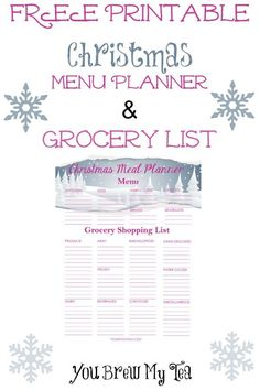Grab this Printable Grocery List and Menu Planner for the holidays!  | Christmas Planner | Free Printable | Free Christmas Printable | Menu Planner