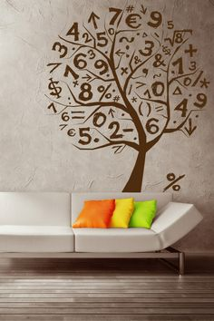 Math Tree Wall Sticker - This math tree wall decoration is the perfect solution to getting the kid's bedroom walls to be both attractive as well as informative, since this mix of numbers and symbols interspersed among the trees is just right. http://walliv.com/math-tree-wall-sticker-art-decal
