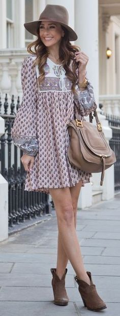 Little Boho Dress + Booties                                                                             Source