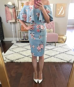 Floral off the shoulder dress, white pumps, summer wedding outfit, petite fashion blog, petite dresses, off the shoulder dress, form fitting dress - click the photo for outfit details!