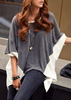 Vogue Grey and White High Low T Shirt