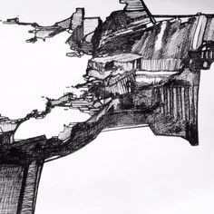 Pen and ink drawing based on  cliff top path at Porth Towan, Cornwall.