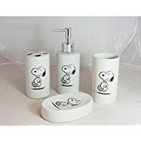 Snoopy–Dispensador de jabón, jabonera–accesorios de baño–4piezas